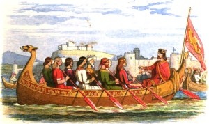 King Edgar being rowed on the River Dee by eight Welsh kings. (Not a myth.)