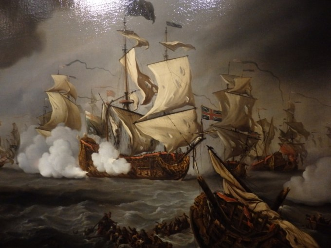 Detail showing Spragge's Royal Prince in action at the battle of the Texel, from the van de Velde painting at the Scheepvaartsmuseum, Amsterdam