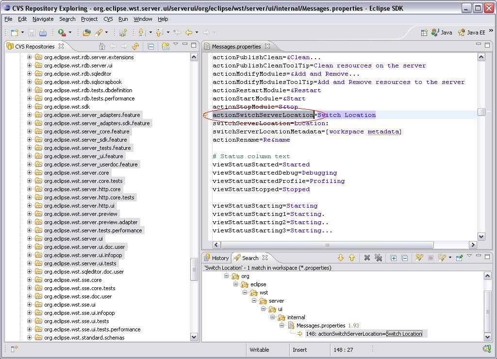 Eclipse WTP - Messages.properties File