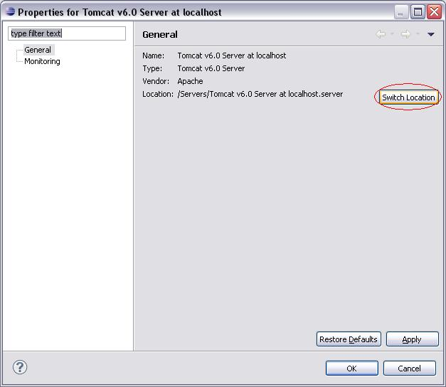 Eclipse WTP - Server Properties - Switch Location 1