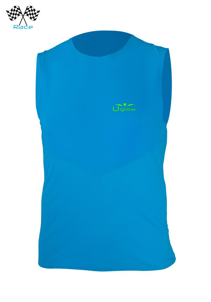 Camiseta running hombre sin Mangas Azul Uglow Speed Aero, WTTSA 1