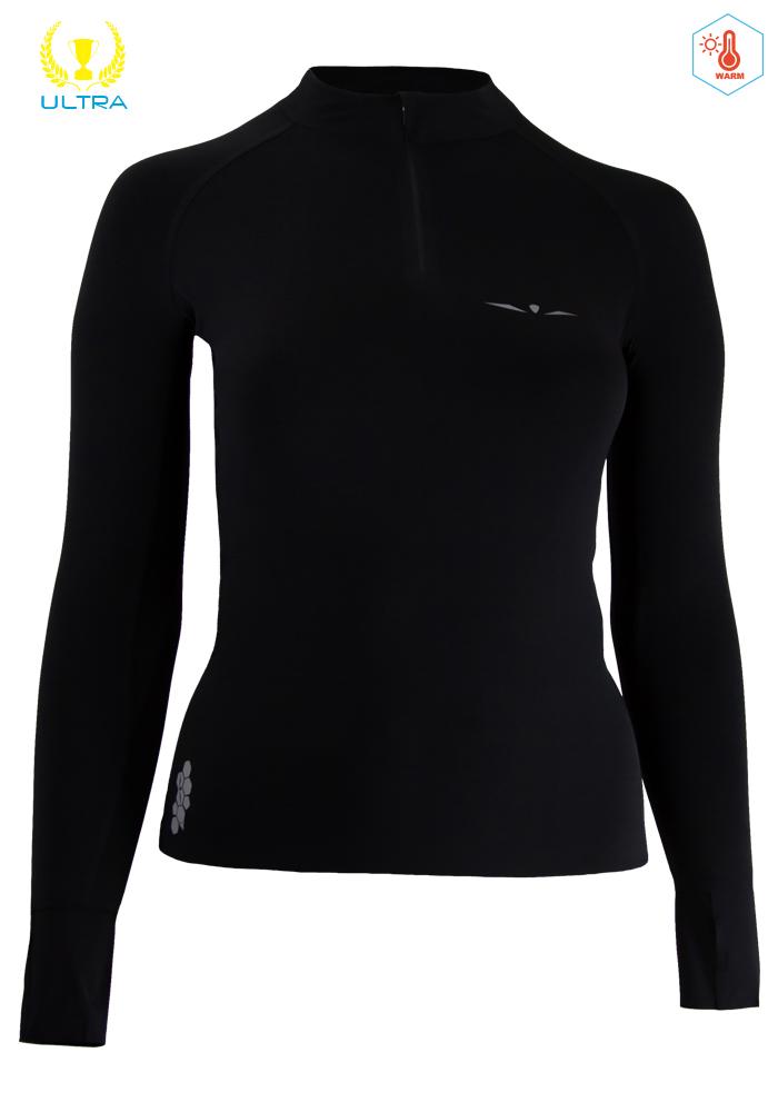 Camiseta Térmica de Mujer Uglow con cremallera 12ZIPM3 Negro/Plata