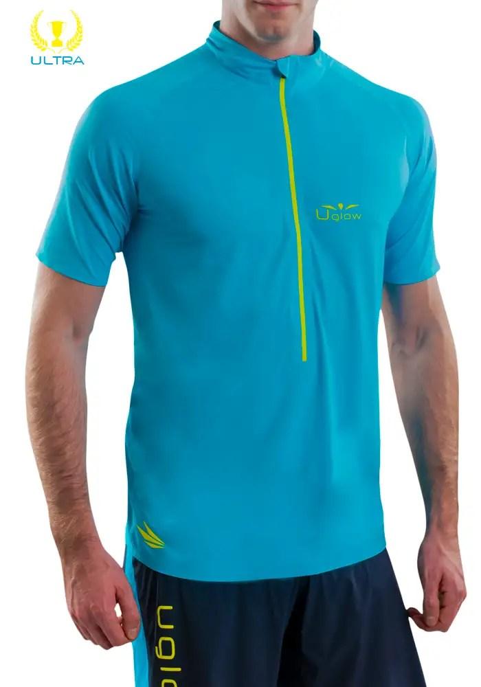 Camiseta trail running hombre con cremallera de manga corta Uglow Zip1 Azul/ Amarillo
