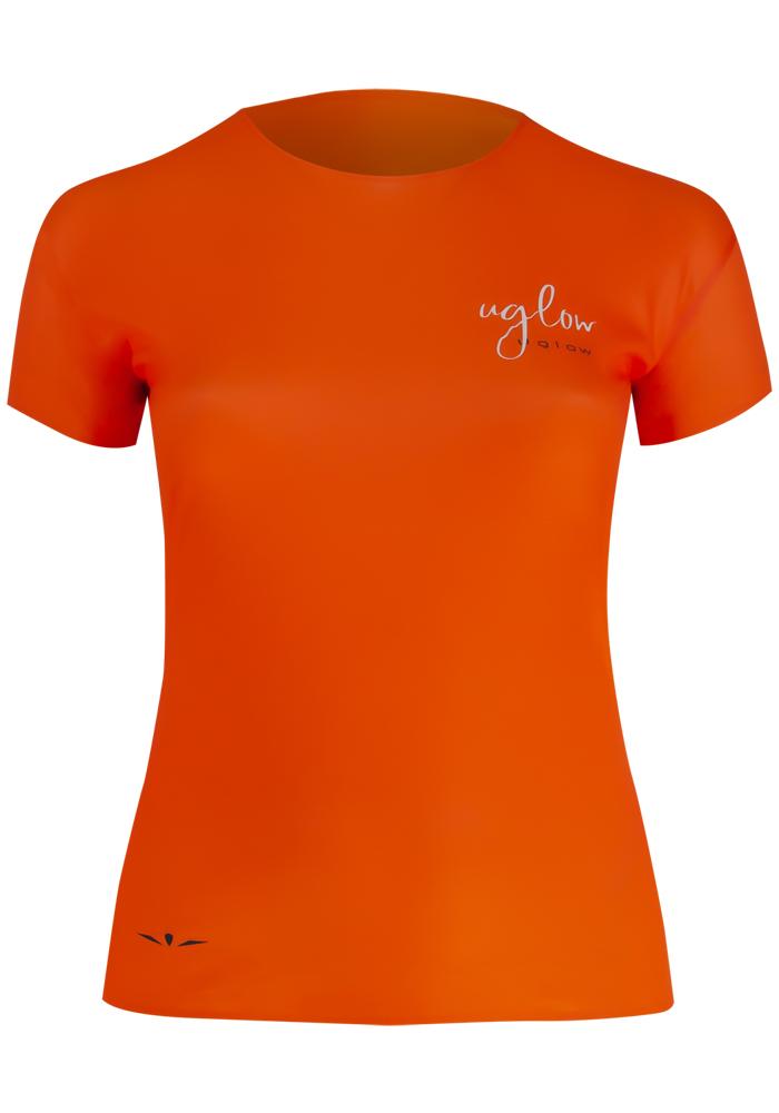 Camiseta para correr, 75 gramos mujer, UglowSuper Speed Aero, Naranja/Negra C-1 TS3