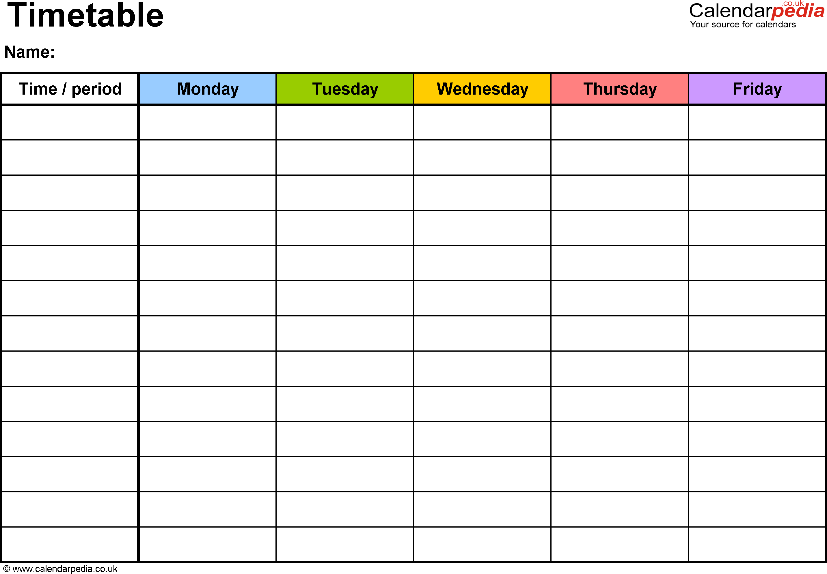 My Timetable Of Teaching