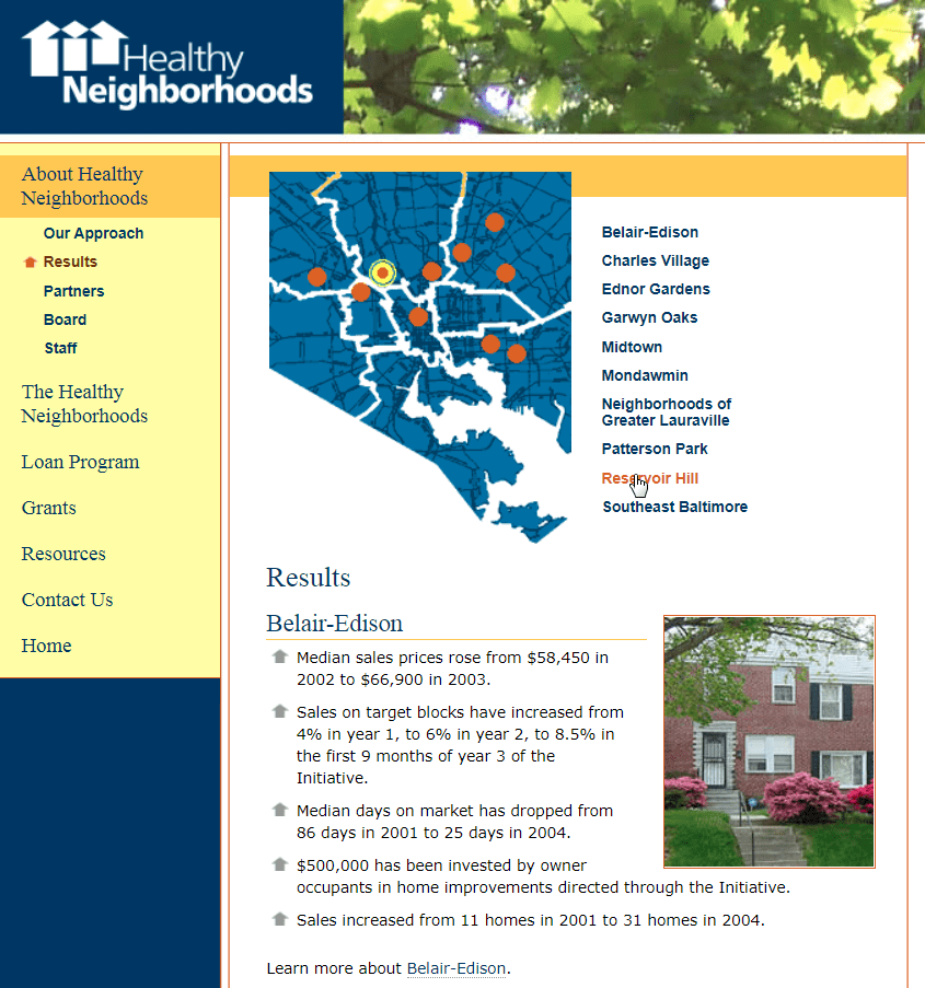 Healthy Neighborhoods, Inc., website
