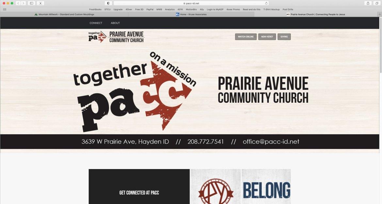 Website created for Prairie Avenue Community Church