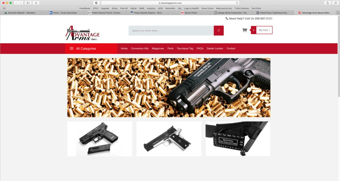 e-commerce website created for Advantage Arms