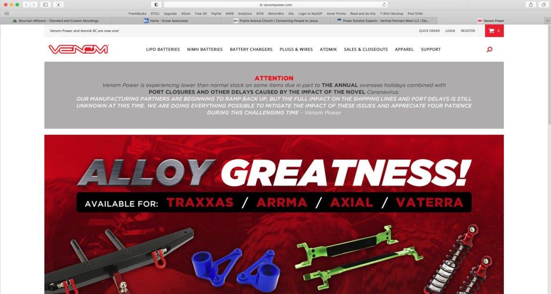 e-commerce website created in Netsuite for Venom Power