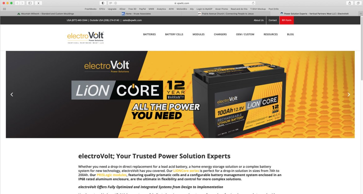 Website created Verticsl Partners West LLC and electro VOLT