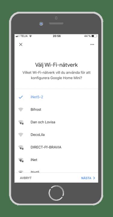 Google Home - Välj nätverk