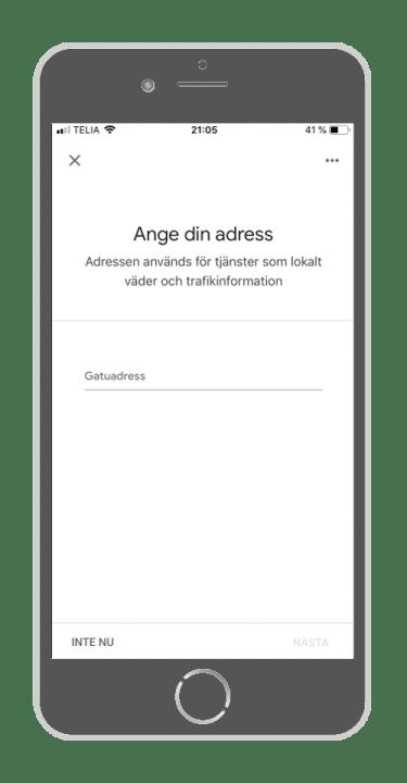 Google Home - Ange din adress