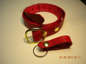 Scarlet Red gentleman's belt and key fob.