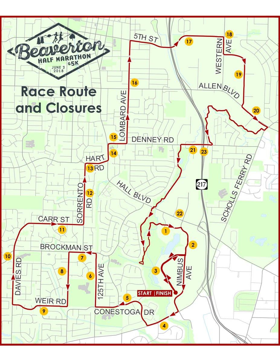 Beaverton Half Marathon Road Closures Sunday June 3rd 2018