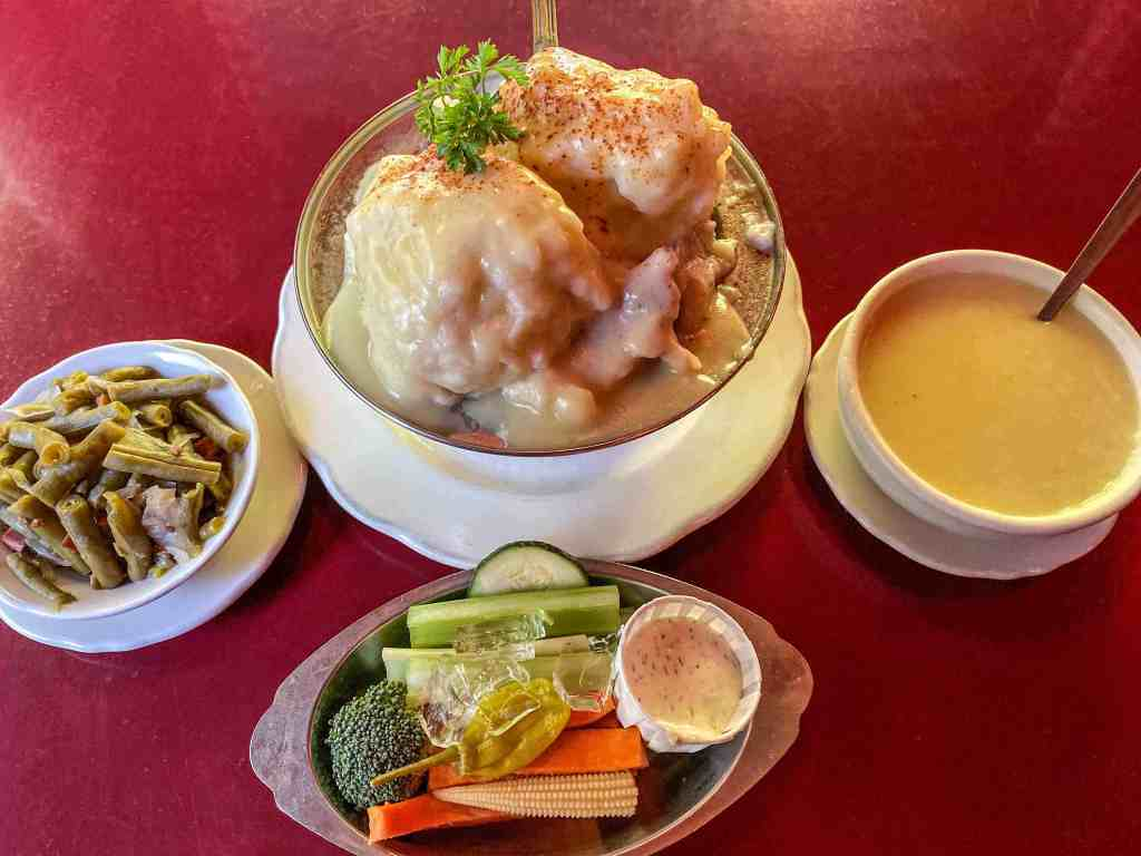 Enormous chicken and dumplings meal