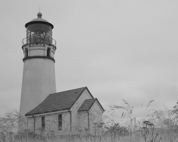 Cape Blanco Lighthouse, Oregon Coast, in black and white