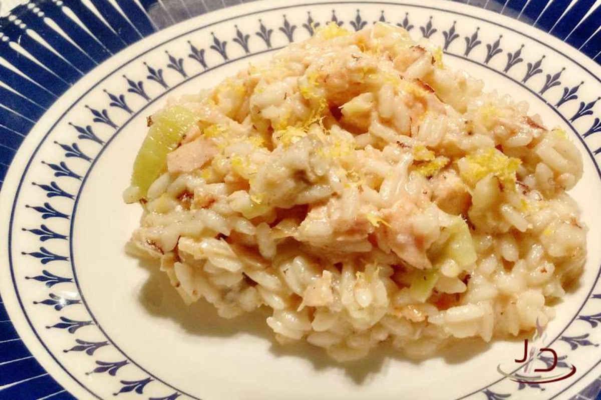 Receita de risoto de salmão, alho-poró e limão siciliano