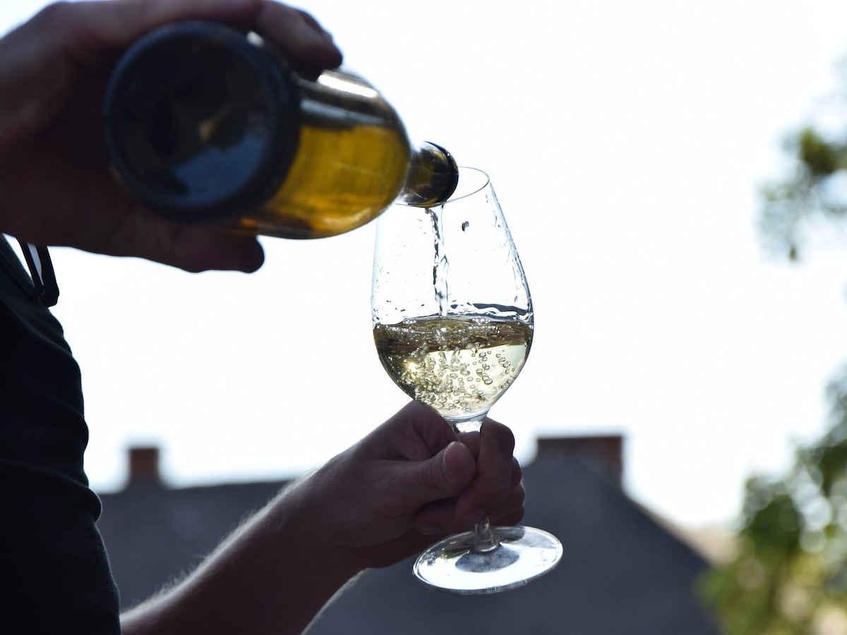 taça de vinho branco sendo servida