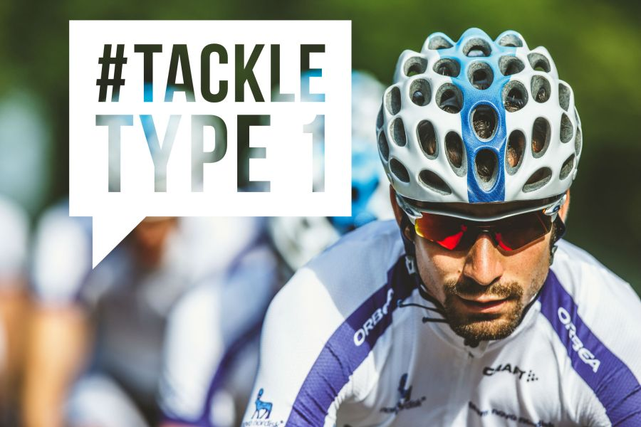 #TackleType1 campaign logo with a professional cyclist