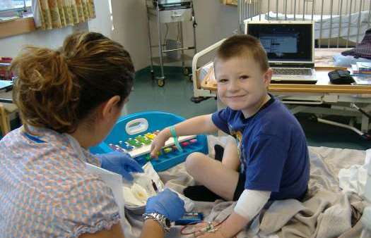 Child taking part in a clinical trial