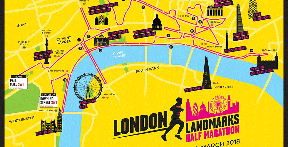 London Landmarks Half Marathon 2018 routemap