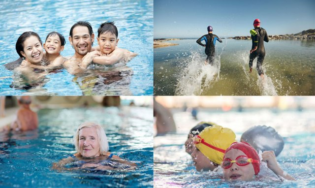 People doing a sponsored swim for charity