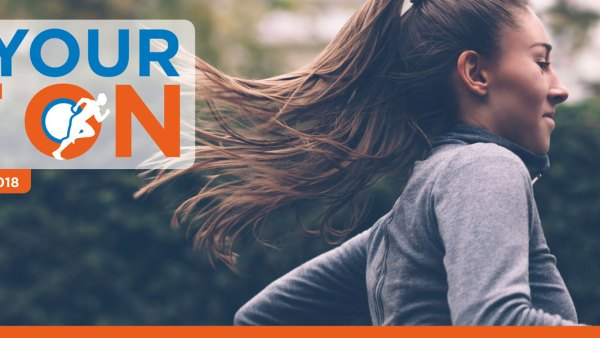 JDRF Get Your Kit On virtual run logo and woman running