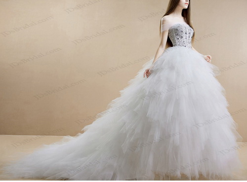 IS017 Sparkles Crystals Sweetheart Neckline Ruffles Tulle