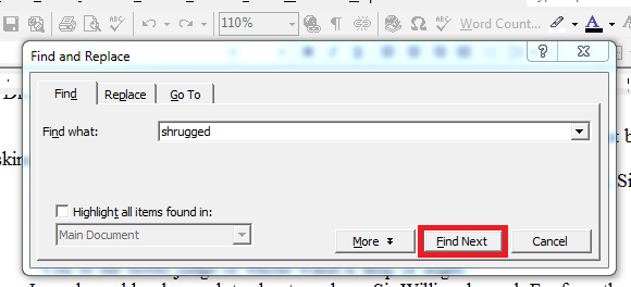 MSWord - find and replace those useless words