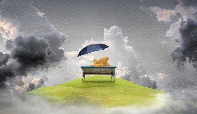 Miracle Morning : Affirmations, la pensée positive vue par Hal Elrod. Deux oursons assis protégés des intempéries par un parapluie