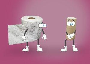 La peur du ridicule face à des situations embarrassantes - un rouleau vide de papier toilette gêné devant un rouleau plein surpris