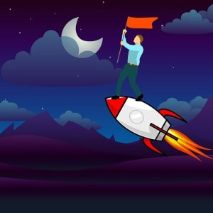 Premier emploi : se donner les chances de le trouver - Homme portant un drapeau debout sur une fusée se dirigeant vers la lune