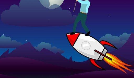 Premier emploi - Homme debout sur une fusée se dirigeant vers la lune