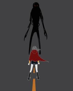 Affronter ses peurs - jeune femme ave une cape rouge à capuche défiant en duel une ombre noire au yeux rouges