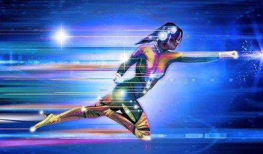 jeune femme super héros se déplaçant vite