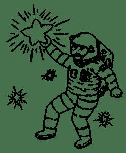 Bienveillance, penser à soi en visualisant ses futures réussites - cosmonaute attrapant une des étoiles