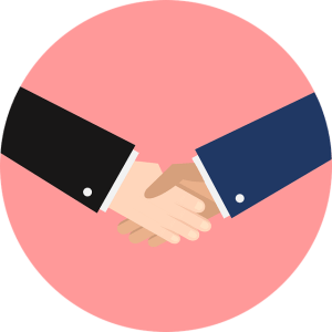 le small talk - exemples de phrases pour entamer ou poursuivre une conversation - deux hommes se serrant la main