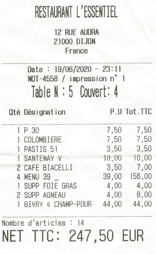 addition restaurant L'essentiel rue Audra en juin 2020