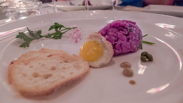 Waygu tartare and quail egg