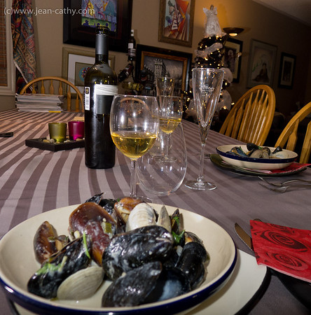 Mussels, clams, and lemon grass with wine