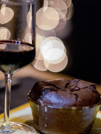 Chocolate souffle with port