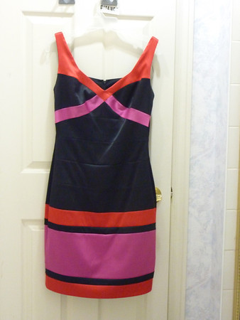Black, red, and pink dress
