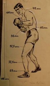 Der Körpermaße des Boxers William Young - Front