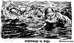 Staffelkämpfe im Wasser