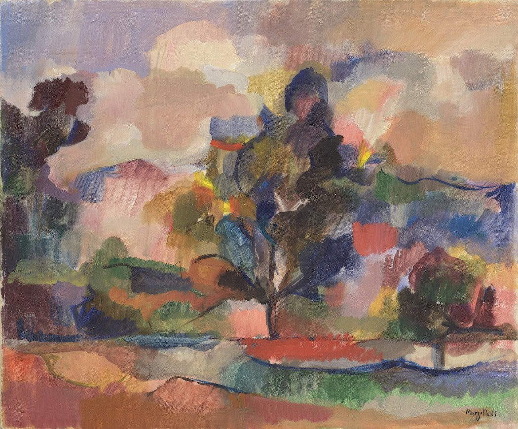 Jean Marzelle, Arbres et nuages à Aix, 1965, Oil on canvas, 38 x 46 cm