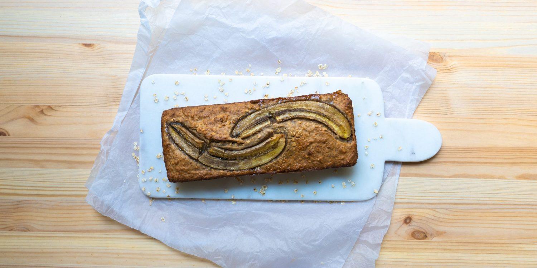 banana bread on white cutting board