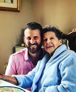 Austin with his grandmother on her 93 birthday.