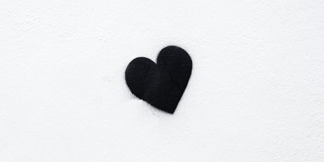 black heart on a white background.