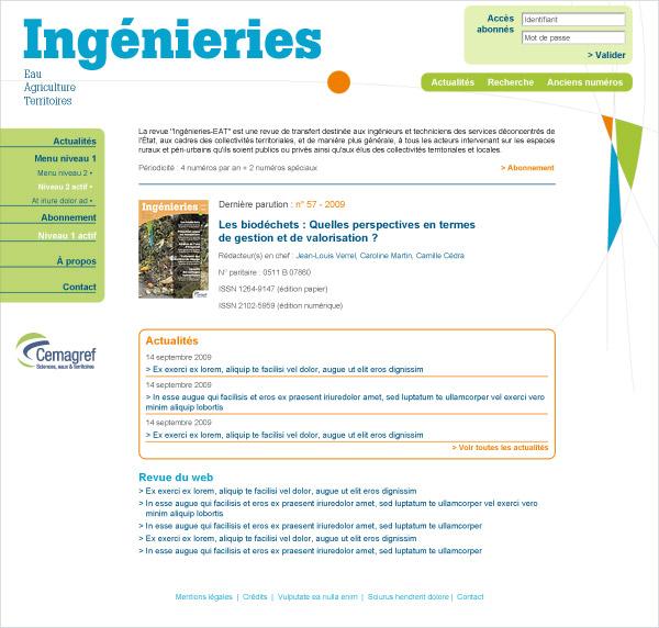 Cemagref Ingénieries site web