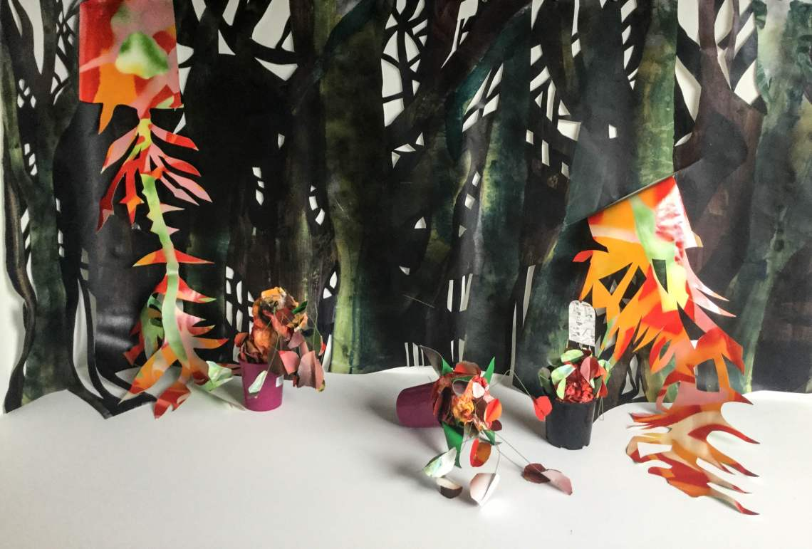Exotics within the Rainforest. Acrylic paint and spray paint on paper. Dimensions variable.